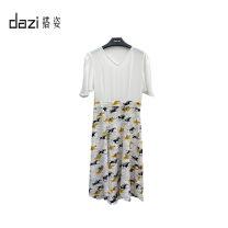 Dress Spring 2020 Remy Martin painting S,M,L,XL singleton  Short sleeve V-neck High waist Broken flowers zipper A-line skirt