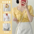 Fashion suit Summer 2021 S M L XL White top yellow top lace skirt white suit yellow suit 18-25 years old Apricot curtain Other 100%