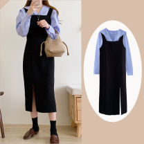Dress Autumn 2020 S,XL,L,M longuette Two piece set Long sleeves commute High waist Solid color zipper A-line skirt shirt sleeve straps 18-24 years old Type A Other / other Korean version