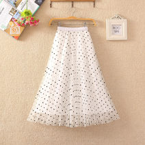 skirt Summer 2021 Average size longuette Sweet High waist Fairy Dress Dot Type A 18-24 years old Gauze skirt 51% (inclusive) - 70% (inclusive) other Cellulose acetate Screen, printing princess
