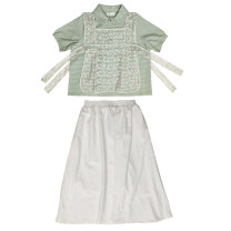 Cosplay women's wear jacket goods in stock Over 14 years old Green shirt + blouse + white skirt comic M