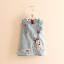 Dress Denim blue female Other / other 90cm,100cm,110cm,120cm,130cm,140cm Cotton 100% summer princess Skirt / vest Denim Denim skirt qz2886 Class B 2, 3, 4, 5, 6, 7, 8, 9, 10, 11, 12, 13, 14 years old