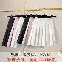 skirt Summer 2021 XXS,XS,S,M,L,XL,2XL,3XL,4XL,5XL White (short), black (short), lotus root powder (short), college grey (short), light purple grey (short), white (long), black (long), lotus root powder (long), college grey (long), light purple grey (long) Short skirt commute High waist Pleated skirt