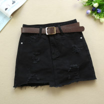 skirt Summer 2021 S,M,L,XL,2XL black Short skirt Versatile Little black dress Solid color Type A 18-24 years old 3615B Denim Ocnltiy cotton Asymmetry , pocket , zipper , Button , Splicing , hole