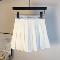 skirt Summer 2021 S,M,L,XL Black, gray, white, black 808 solid color has safety pants, white 808 solid color has safety pants, gray 808 solid color has safety pants Short skirt Sweet High waist Pleated skirt letter Type A 18-24 years old 71% (inclusive) - 80% (inclusive) brocade Ocnltiy other