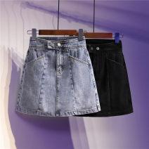 skirt Summer 2021 S [90-100 kg], m [100-110 kg], l [110-120 kg], XL [120-135 kg], 2XL [135-150 Jin], 3XL [150-165 kg], 4XL [165-175 Jin], 5XL [175-200 Jin] Light blue, black Short skirt fresh High waist A-line skirt other Type A 18-24 years old 51% (inclusive) - 70% (inclusive) Denim Ocnltiy cotton