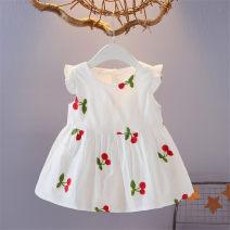 Dress White strawberry, pink strawberry, cherry female Other / other 66cm (66cm [0-4 months]), 73cm (73cm [5-8 months]), 80cm (80cm [9-15 months]), 90cm (90cm [16-24 months]), 100cm (100cm [2-3 years old]) Cotton 100% summer Korean version Skirt / vest Broken flowers cotton A-line skirt ML-XK189115