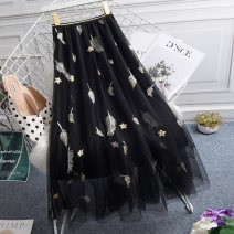 skirt Summer 2021 One size fits all (elastic waist 85-125kg) Black, gray, white, apricot, pink longuette commute High waist Fairy Dress Solid color Type A HJ8236 More than 95% Ocnltiy Embroidery, gauze Korean version