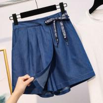 Women's large Summer 2021 blue XL (recommended 95-110 kg), 2XL (recommended 110-130 kg), 3XL (recommended 130-150 kg), 4XL (recommended 150-170 kg), 5XL (recommended 170-200 kg) Jeans singleton  commute easy thin Solid color Korean version Denim Three dimensional cutting HJ8786 Ocnltiy Bandage Pant