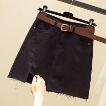 skirt Summer 2021 S,M,L,XL,2XL Black, blue Short skirt commute High waist Denim skirt Solid color Type A 18-24 years old More than 95% Denim Ocnltiy cotton Korean version