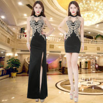Dress / evening wear Company annual meeting longuette Skirt hem top layer leather Sleeveless Autumn of 2018 High waist sexy Deep collar V 2989 Hollowing out other Design and color 18-25 years old Embroidery 31% (inclusive) - 50% (inclusive) other machine embroidery S,XL,L,M,XXL,XXXL