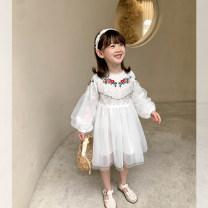 Dress white female Zuo Xi The height of hangtag 110 is about 110cm, that of hangtag 120 is about 120cm, that of hangtag 130 is about 130cm, that of hangtag 140 is about 140cm, that of hangtag 150 is about 150cm, that of hangtag 160 is about 160cm summer Korean version Long sleeves flower blending