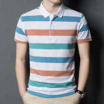 Polo shirt DYJ Albert other Plush and thicken White, green, blue 105,110,115,120,125,130 Extra wide Travel? summer Short sleeve NWX108-802 Basic public 2021 stripe cotton Mercerization make a slit or vent