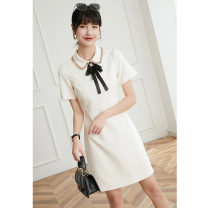 Dress Summer 2021 Apricot, dark blue S,M,L,XL Middle-skirt singleton  Short sleeve commute Polo collar High waist Solid color zipper A-line skirt routine Others 25-29 years old Type A Other / other lady Splicing More than 95% Chiffon polyester fiber