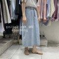 skirt Summer 2021 S,M,L Light blue, dark blue longuette commute High waist Denim skirt Solid color Type A 18-24 years old Denim Button, pocket, zipper, asymmetric Korean version