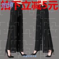 Casual pants Black uncut, black uncut, red uncut, red uncut, white uncut, white uncut M,L,XL,2XL,3XL,4XL Spring 2020 trousers Wide leg pants High waist Versatile routine 81% (inclusive) - 90% (inclusive) pocket