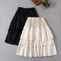 skirt Spring 2021 Average size Black, apricot, cream Mid length dress Sweet Natural waist Cake skirt Solid color Type A cotton Embroidery, pleats, pockets, stitching, lace Mori