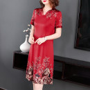 Dress Summer of 2018 Red positioning flower M,L,XL,2XL,3XL,4XL,5XL Miniskirt singleton  Short sleeve commute V-neck High waist Broken flowers zipper One pace skirt routine Mi laixuan Korean version zipper 7760#