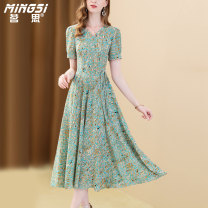 Dress Summer 2021 Decor S M L XL XXL Mid length dress singleton  Short sleeve commute V-neck middle-waisted Broken flowers zipper A-line skirt routine Others 35-39 years old Type A Mingsi lady Lace up zipper print More than 95% Chiffon polyester fiber Polyester 100% Pure e-commerce (online only)