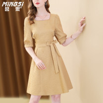 Dress Summer 2021 yellow S M L XL Mid length dress singleton  elbow sleeve commute square neck middle-waisted Solid color zipper A-line skirt routine Others 35-39 years old Type A Mingsi lady Bow cut out lace up zipper M21S14062 More than 95% Chiffon polyester fiber Polyester 100%