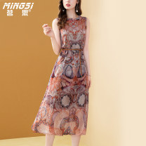 Dress Summer 2021 Decor S M L XL XXL longuette singleton  elbow sleeve commute other middle-waisted Decor Socket A-line skirt routine Others 35-39 years old Type A Mingsi lady Lace up printing More than 95% Silk and satin silk Mulberry silk 100% Pure e-commerce (online only)