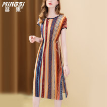 Dress Summer 2021 Decor S M L XL XXL Mid length dress singleton  Short sleeve commute Crew neck middle-waisted other Socket A-line skirt Sleeve Others 35-39 years old Type A Mingsi lady Lace up printing M21S14059 More than 95% Silk and satin silk Mulberry silk 100% Pure e-commerce (online only)