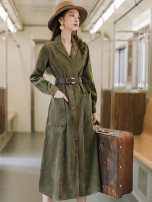 Dress Autumn 2020 Army green S,M,L longuette singleton  Long sleeves commute V-neck High waist Solid color Single breasted A-line skirt shirt sleeve Others Type A More and more Retro Splicing