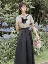 Dress Summer 2020 Rice white and black S,M,L Mid length dress singleton  Short sleeve commute Admiral High waist Solid color zipper A-line skirt routine More and more Retro Bowknot, zipper, stitching