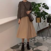 skirt Autumn 2016 Average size Embroidered red, black, khaki Mid length dress Natural waist Pleated skirt Solid color Type A 25-29 years old More than 95% Other / other polyester fiber