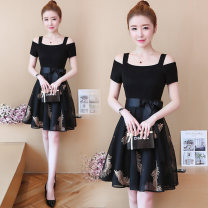 Dress Summer 2020 black S,M,L,XL Middle-skirt Fake two pieces Short sleeve commute One word collar middle-waisted Solid color Socket Princess Dress raglan sleeve Others 18-24 years old Type A Other / other Korean version Bows, embroidery