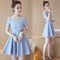 Dress Summer 2020 Pink dots, blue dots, blue stripes, red stripes S,M,L,XL Short skirt singleton  Short sleeve commute One word collar High waist Dot Socket A-line skirt routine camisole 18-24 years old Type A Other / other Korean version printing More than 95% other