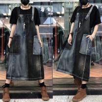 Dress Spring 2021 Black blue Average size Mid length dress singleton  Sleeveless commute Loose waist Socket straps Type H LJ Retro More than 95% Denim cotton