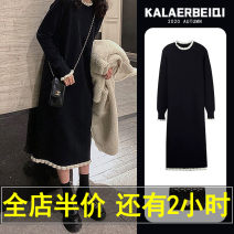 Dress Spring 2021 Black [50000 + old powder, a long-time black knitted skirt! 】 S XL 2XL 3XL 4XL L M Mid length dress singleton  Long sleeves Sweet Crew neck High waist Solid color Socket routine Others 18-24 years old Karrar Betsey / kararbezi C9-21QMFS5291-A 31% (inclusive) - 50% (inclusive)