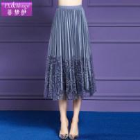skirt Spring of 2019 S M L XL 2XL 3XL Khaki light blue black Middle-skirt grace Natural waist A-line skirt Type A 30-34 years old More than 95% FX.&Mongyi nylon Polyamide fiber (nylon) 100% Pure e-commerce (online only)