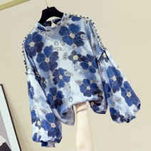 Lace / Chiffon Spring 2021 Red, blue S. M, l, XL, 2XL, 500 pieces contact customer service Long sleeves commute Socket singleton  easy Crew neck Decor bishop sleeve 25-29 years old Other / other Printing, splicing Korean version 81% (inclusive) - 90% (inclusive)