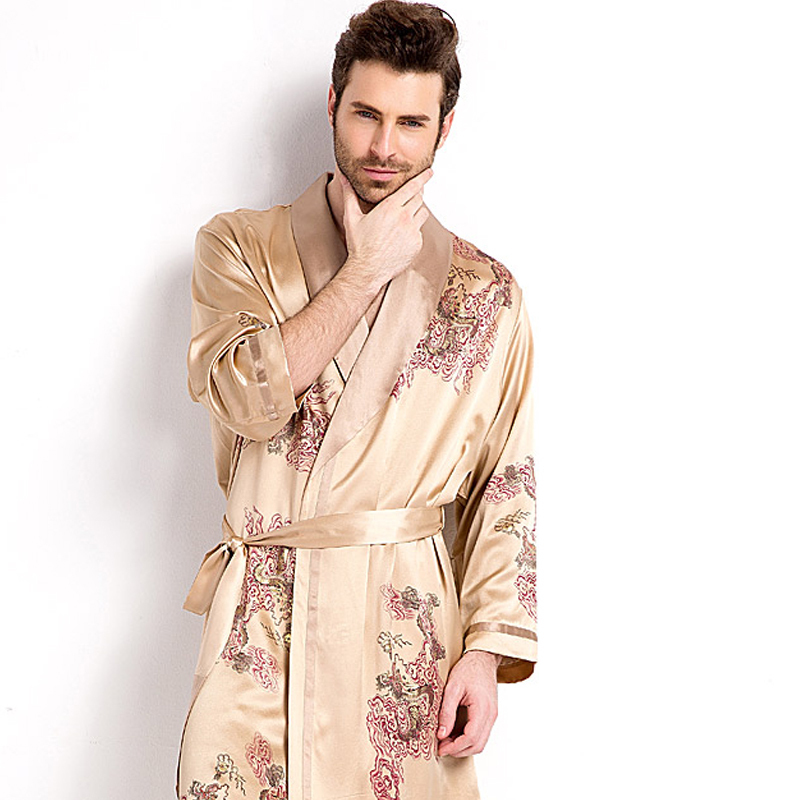 Nightgown / bathrobe QUALCUNO male 170175180185160(M)165(L)170(XL)175(XXL) Men's Golden Dragon Robe women's orange routine luxurious silk summer More than 95% Medium length (knee to Mid Calf) silk Plants and flowers youth one million five hundred and seven thousand and nine printing 400g and above no