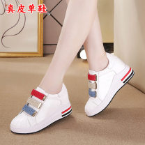 Low top shoes 34,35,36,37,38,39 Other / other White hollow out, white single shoes Round head Double skin mulching Internal elevation High heel (5-8cm) Shallow mouth Superfine fiber Summer of 2019 Velcro Korean version Adhesive shoes Youth (18-40 years old) Color matching rubber Single shoes PU daily