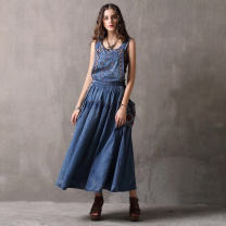 Dress Summer 2020 Denim blue M,L,XL longuette singleton  High waist Solid color Socket Big swing straps 25-29 years old Type A Xi Shi boutique fashion women's wear Splicing A82038 More than 95% Denim cotton