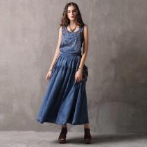 Dress Summer 2020 Denim blue M,L,XL longuette singleton  High waist Solid color Socket Big swing straps 25-29 years old Type A Xi Shi boutique fashion women's wear Splicing A82038 More than 95% Denim cotton