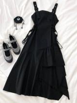 Dress Autumn 2020 black S,M,L,XS Mid length dress singleton  Sleeveless Sweet High waist Solid color Socket A-line skirt straps 18-24 years old Type A Other / other Strap, strap 71% (inclusive) - 80% (inclusive) other polyester fiber solar system