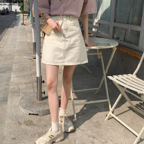 skirt Spring 2021 S,M,L,XL Apricot, black, dark blue Short skirt commute High waist A-line skirt Solid color Type A 18-24 years old 31% (inclusive) - 50% (inclusive) Denim Other / other cotton pocket Korean version