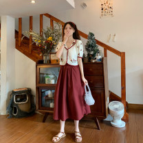 skirt Summer 2020 Average size White, red Mid length dress commute High waist A-line skirt Solid color Type A 18-24 years old 31% (inclusive) - 50% (inclusive) brocade Other / other cotton Korean version