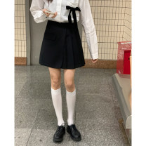 skirt Spring 2021 S,M,L,XL White, black Short skirt commute High waist A-line skirt Solid color Type A 18-24 years old 31% (inclusive) - 50% (inclusive) brocade Other / other polyester fiber Korean version