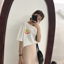 T-shirt Pink Navy White Average size Summer of 2018 Short sleeve Crew neck easy Regular routine commute cotton 30% and below 18-24 years old Korean version Other / other