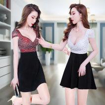 Dress Summer 2020 Red, black, white S M L XL Short skirt singleton  Short sleeve 18-24 years old SAMTRD More than 95% polyester fiber Polyethylene terephthalate (PET) 95% polyurethane elastic fiber (spandex) 5% Pure e-commerce (online only)