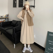 Women's large Summer 2020, autumn 2020 Coffee dress, white dress, apricot vest, blue vest, coffee dress + apricot vest, white dress + blue vest, Black Vest + long sleeve white dress, coffee Vest + long sleeve apricot dress Large L, large XL, m, 2XL, 3XL Other oversize styles Two piece set commute