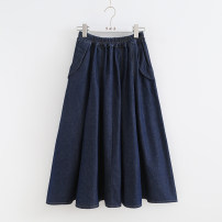 skirt Spring 2020 Average size Dark blue, light blue Mid length dress Sweet Natural waist A-line skirt Solid color Type A 81% (inclusive) - 90% (inclusive) cotton Folds, pockets Mori