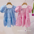 Dress The dress is blue and the dress is pink female Other / other 90cm,100cm,110cm,120cm,130cm,140cm,150cm Other 100% summer Korean version Short sleeve Solid color other A-line skirt KDG21041117