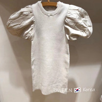 Dress Off white dress female Other / other 80cm,90cm,100cm,110cm,120cm,130cm,140cm,150cm Other 100% summer Korean version Short sleeve Solid color other A-line skirt