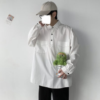 shirt Youth fashion Others M. L, XL, 2XL, s small, XS plus small White, black routine square neck Long sleeves easy Other leisure spring Large size tide 2021 Solid color cotton More than 95%